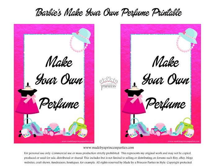Barbie Party Perfume Station Free Printables - DIY Perfume Bar Sign - Made by a Princess