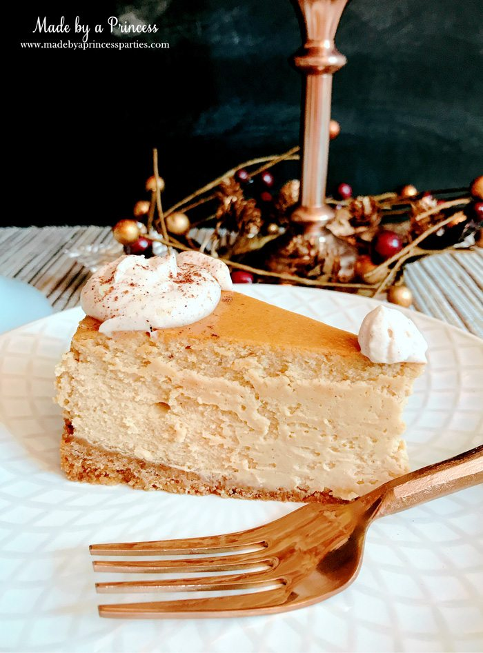 Gingerbread Cheesecake Dessert Recipe everyone needs a rose gold fork Made by a Princess #gingerbreadcheesecake