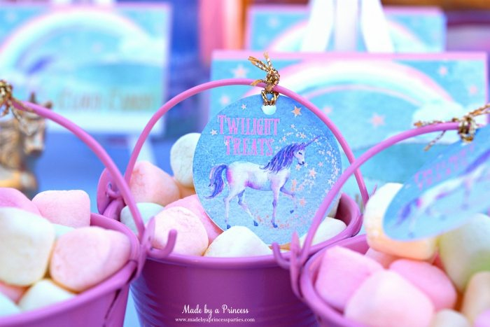 Unicorn Party Ideas Marshmallows Twilight Treats - Made by a Princess #unicorn #unicornparty