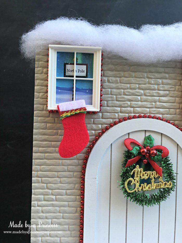 How to Create Your Own Tiny Elf Door Tutorial add windows and north pole scene MadebyaPrincess #elfdoor #fairydoor #elfdoorkit