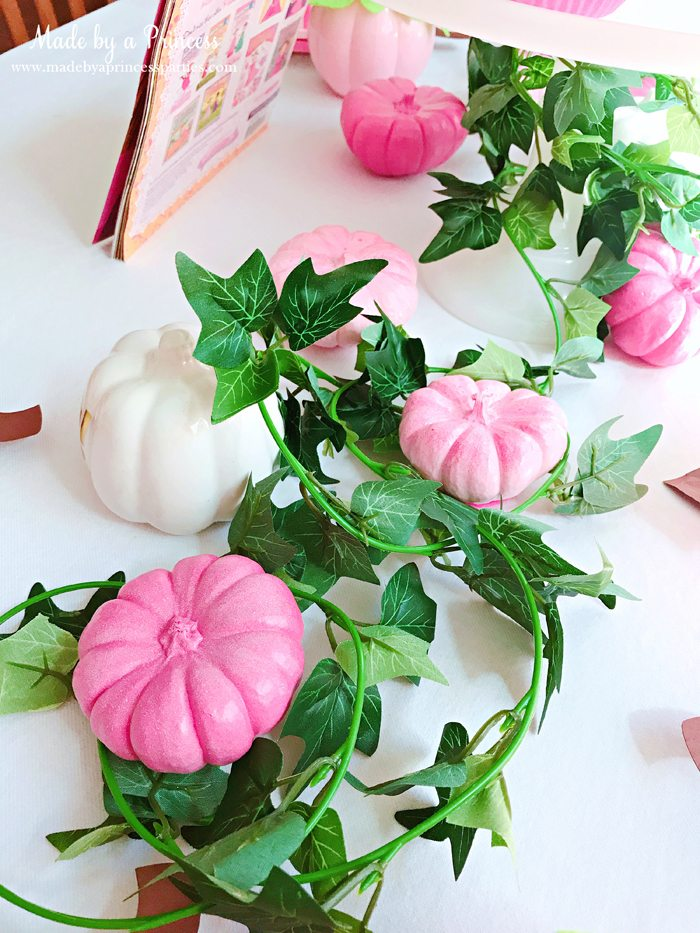 Pink Pumpkin Halloween Party Ideas vines and pink pumpkins Made by a Princess #pinkparty #pinkoween #pinkpumpkinparty