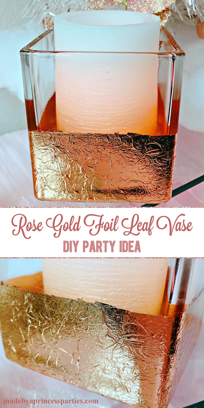 Rose Gold Foil Leaf Vase DIY Party Idea Fill with a Candle or Pretty Flowers
