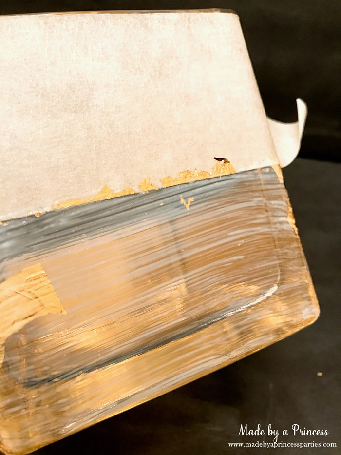 Rose Gold Foil Leaf Vase DIY Party Idea Mod Podge then Carefully Place Foil Leaf