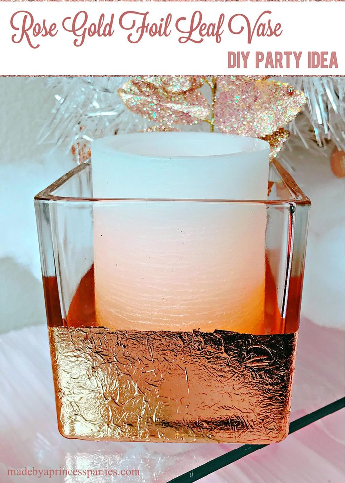 Rose Gold Leaf Vase Diy Party Idea