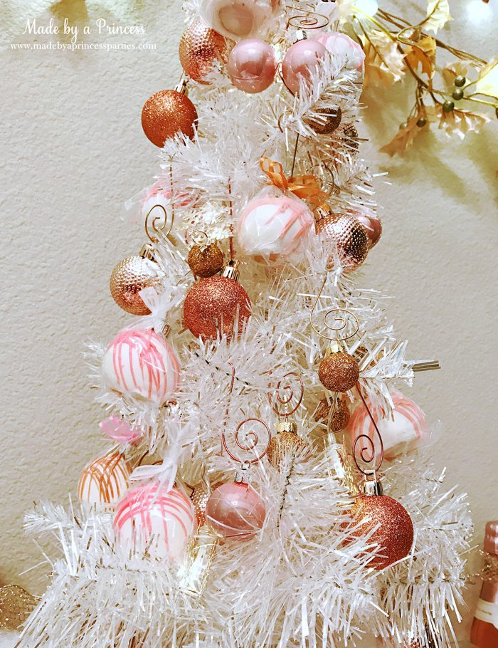 Winter WINEderland Holiday Party Bauble Bites Cake Pops Hanging on the Christmas Tree