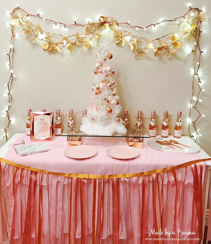 Winter WINEderland Holiday Party Food Table with Custom Ribbon Garland