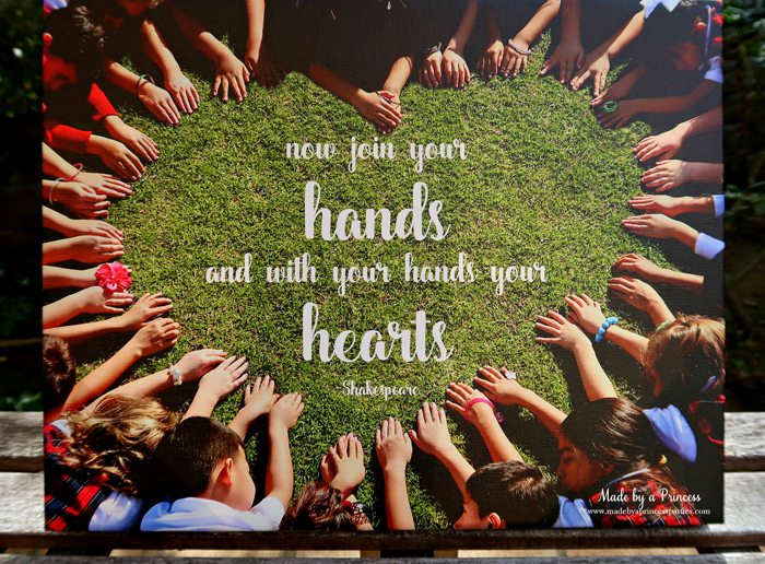 School Auction Art Piece join your hands and with your hands your hearts Shakespeare quote