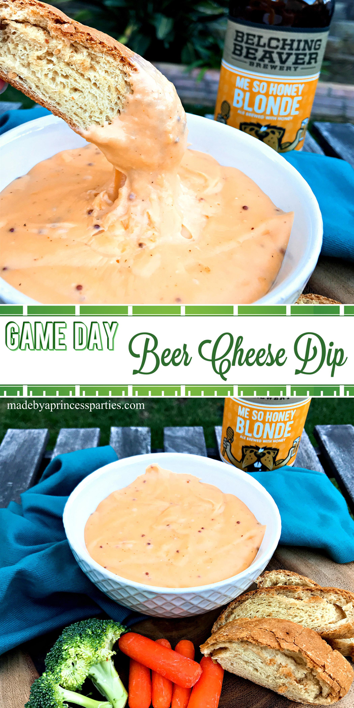 Creamy Beer Cheese Dip Recipe perfect for Game Day @madebyaprincess #beerdip #beercheesedip #footballsnacks #gamedaysnacks