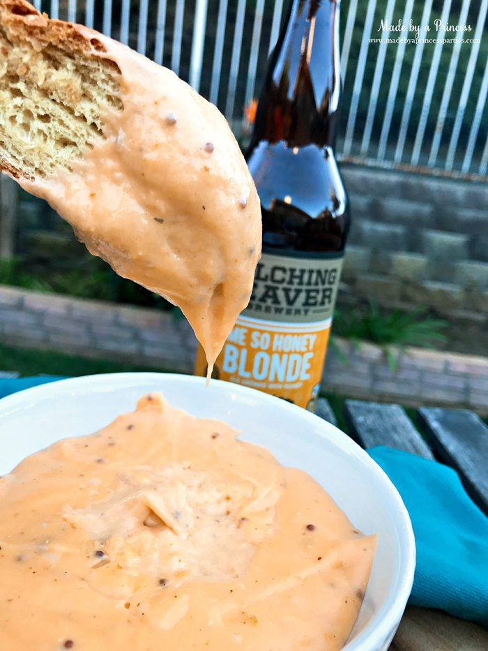 Creamy Beer Cheese Dip Recipe with Belching Beaver Me So Honey Blonde Beer and honey mustard dijon @madebyaprincess #beerdip #beercheesedip #footballsnacks #gamedaysnacks
