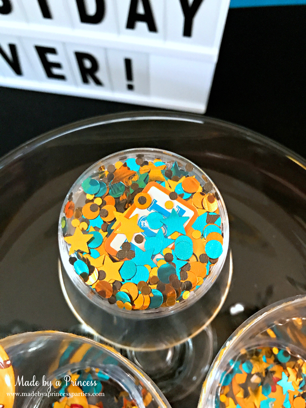 DIY Floating Confetti Sparkle Cup confetti floats along the bottom of the cups
