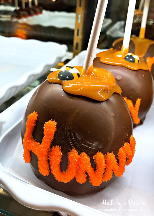 Disneylands Best Pixar Fest Food Checklist Winnie the Pooh Hunny Pot Apples #disneylandfood #disneyfood #winniethepooh #madebyaprincess