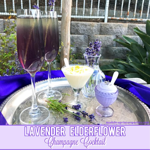 Lavender Elderflower Champagne Cocktail served with a light and fluffy lavender or elderflower mousse