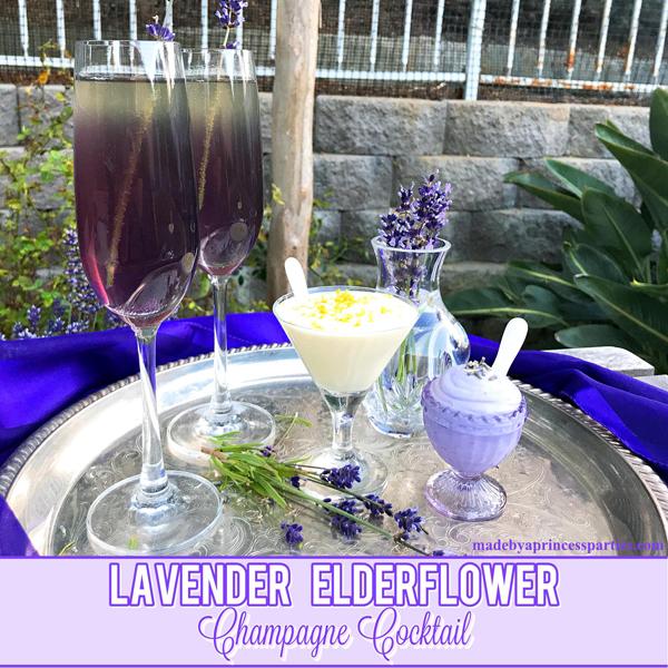 Lavender Elderflower Champagne Cocktail served with a light and fluffy lavender or elderflower mousse