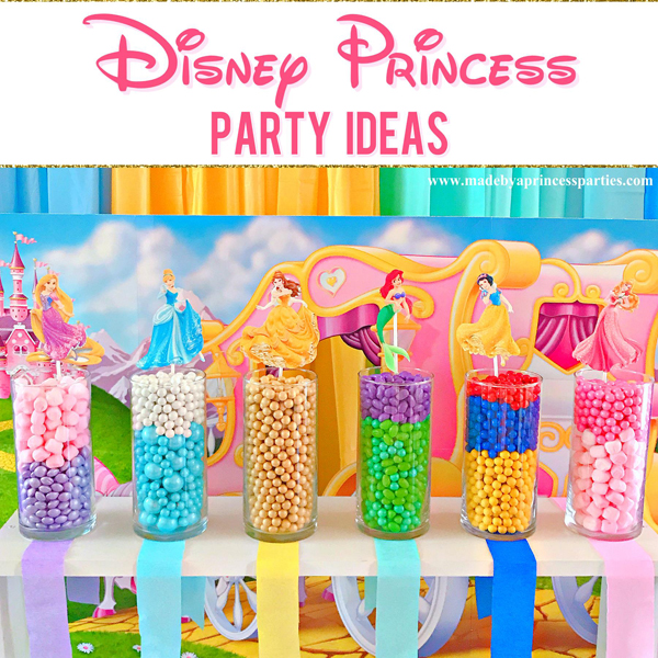 Disney Princess Party Ideas candy buffet in colors that represent each princess