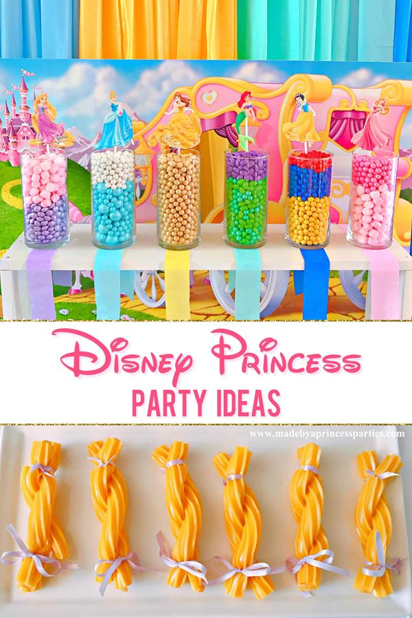 Disney Princess Party Ideas set up a candy buffet in colors that represent each Disney princess