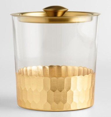Golden Holiday Entertaining Essentials gold faceted ice bucket