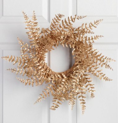 Golden Holiday Entertaining Essentials gold fern berry wreath