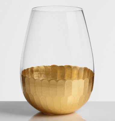 Golden Holiday Entertaining Essentials gold stemless wine glasses