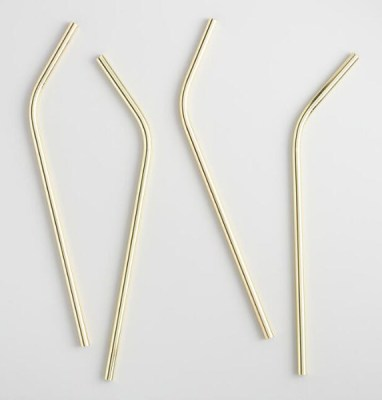 Golden Holiday Entertaining Essentials gold straws