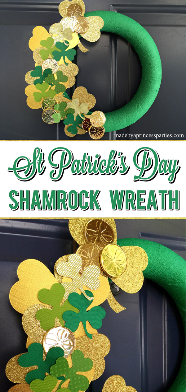 DIY Easy St Patricks Day Shamrock Wreath can be made in minutes using items from dollar store and Sizzix machine