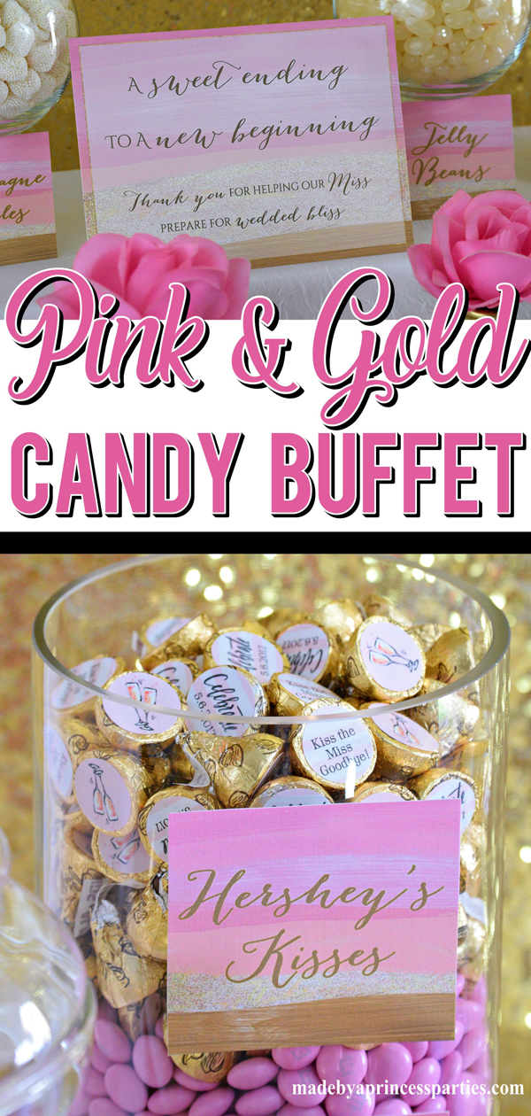 Pink and Gold Party Candy Buffet Ideas perfect for a bridal shower