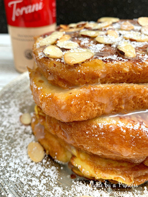 Torani White Chocolate Sauce is a perfect substitute for syrup on marzipan stuffed french toast