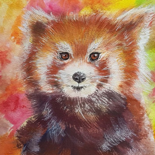 Painting of red panda with dappled red, orange and green backdrop