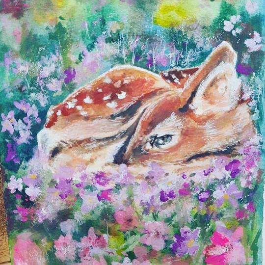 painting of a sleepy deer facing left centre with pinks and purple flowers and soft green background