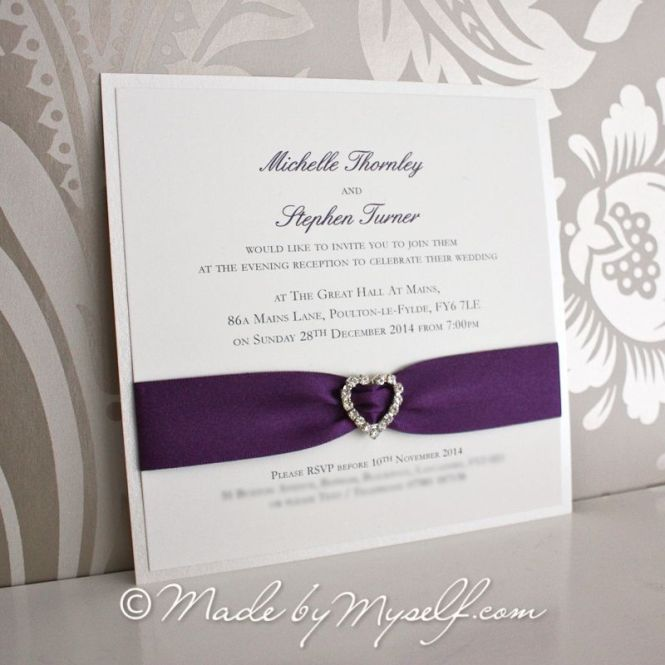 Ribbon Heart Wedding Invitation Flat Card
