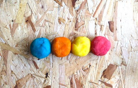 diy playdough in a line