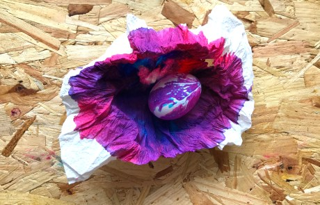 pretty kitchen towel dyed eggs