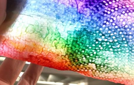 felt tip pen rainbow on kitchen towel