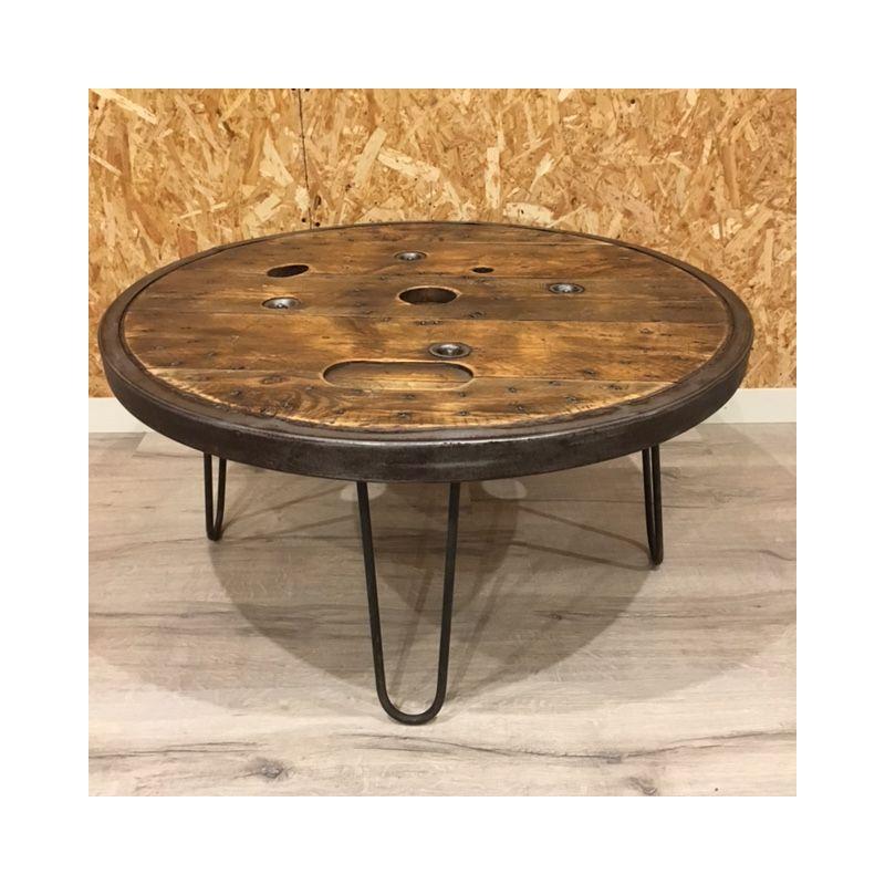 table basse touret cerclage metallique90cm