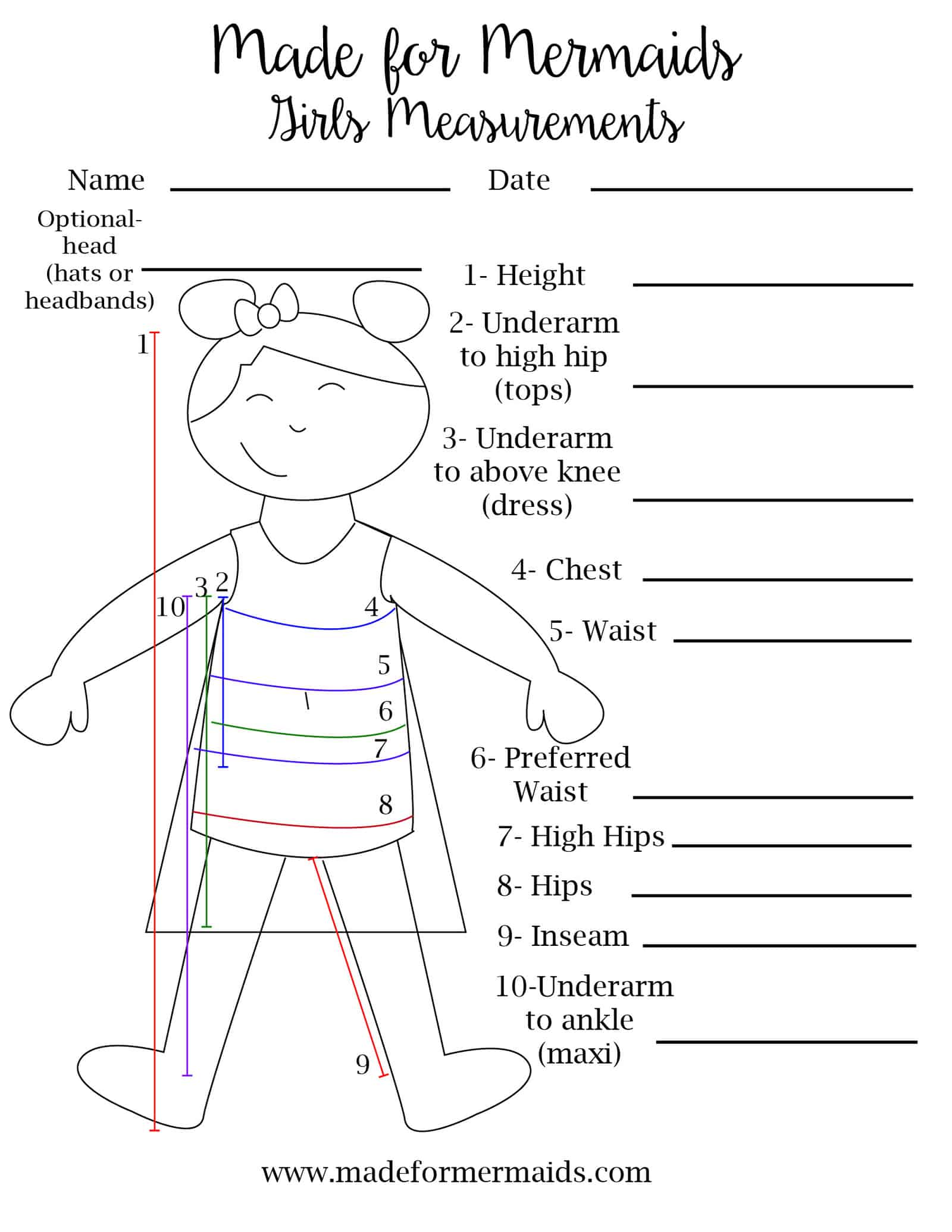 Free Printable Blank Measurement Chart For Boys Girls Amp Women