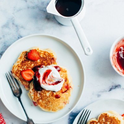 We make this super easy Whole Wheat Pancake recipe for breakfast in the mornings...or for dinner. They're made with whole, simple, healthy ingredients. Add chocolate chips or top with greek yogurt and fruit!