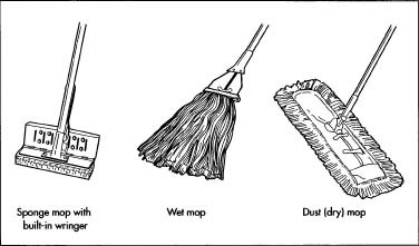 Three standard versions of a mop.