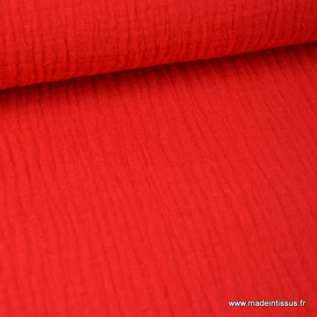 tissu double gaze de coton pas cher coloris denim fonce pour creation habillement