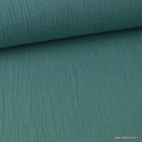 tissu double gaze de coton pas cher coloris celadon