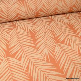 tissu ameublement jacquard terracotta en grande largeur motifs feuillage theme tasmanie tissu ameublement jacquard terracotta en grande largeur