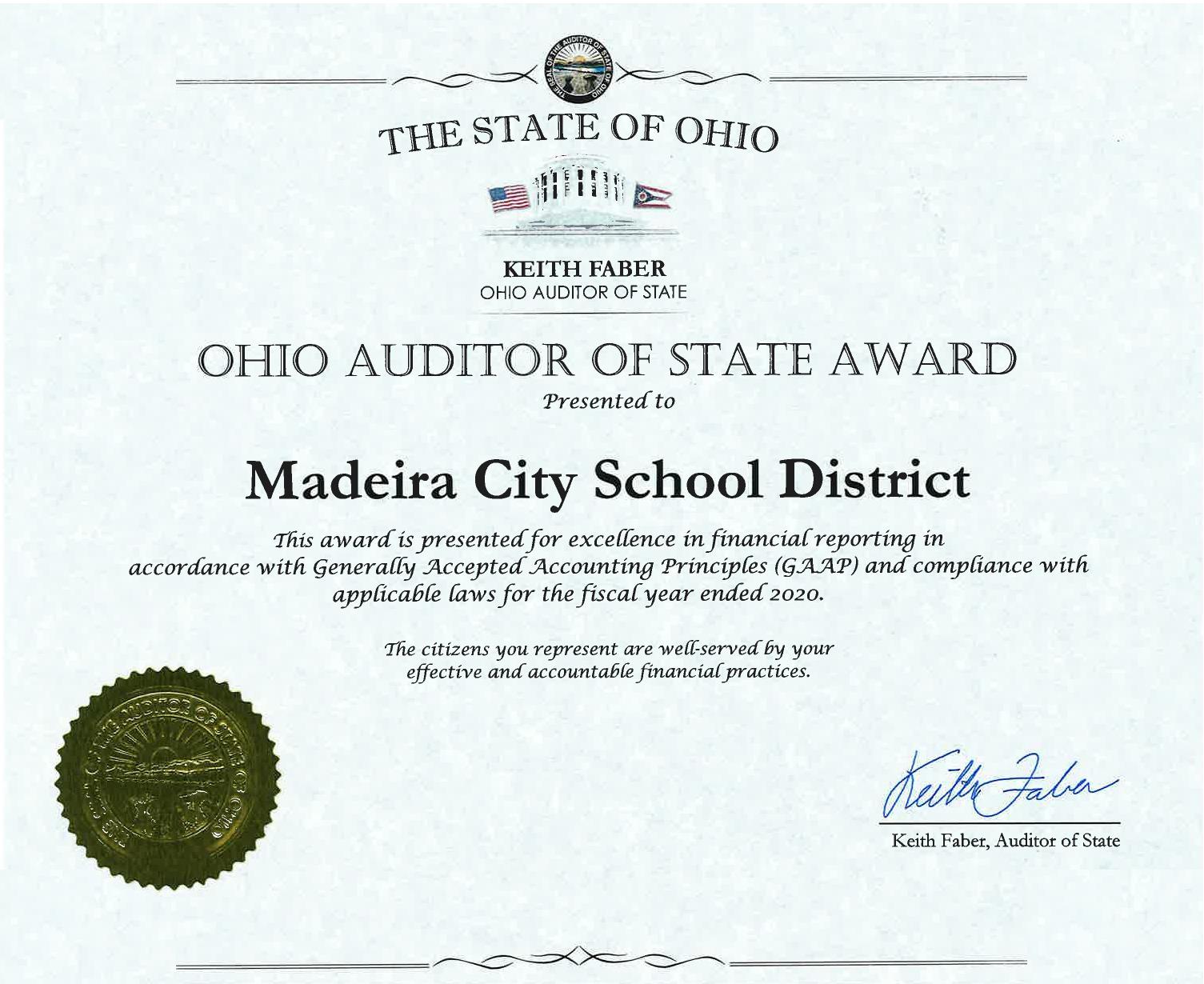Madeira Receives Auditor's Award