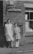 Leycett Post Office in the Late 1920's. Agnes Cowell on the Right.