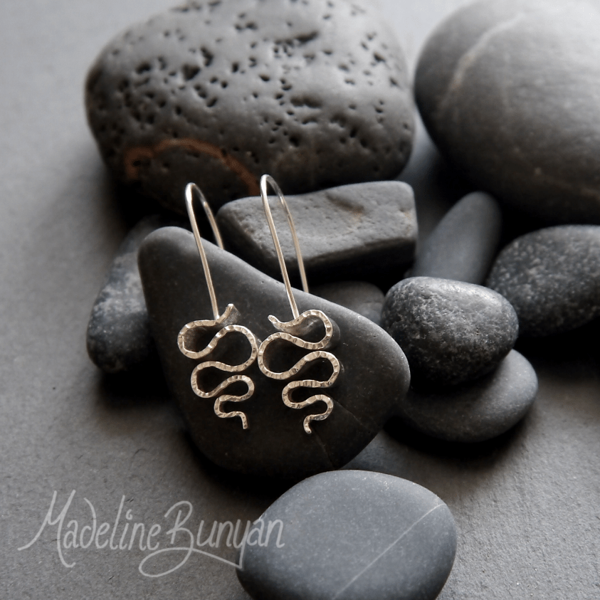 Wave Earrings, Sterling Silver, Hook-In Style