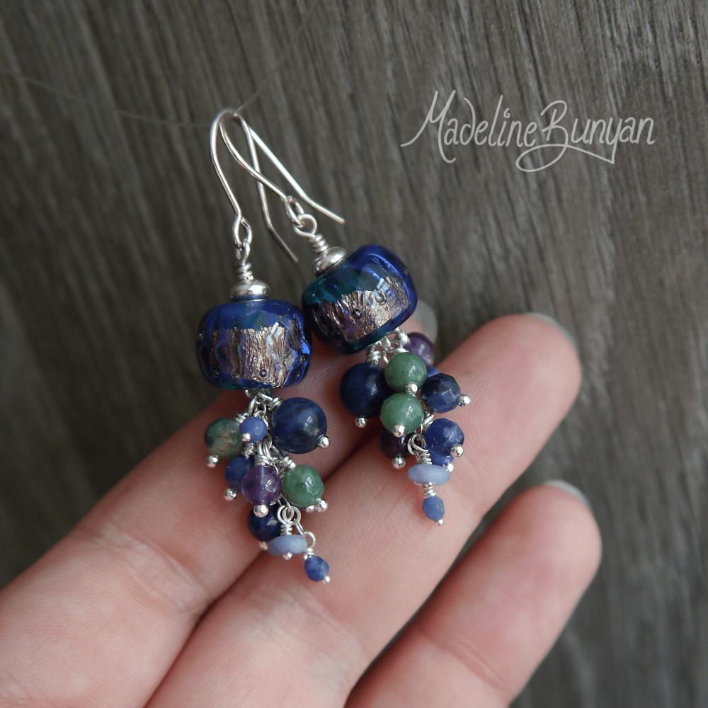 Blue Lampwork and Gemstone Cluster Earrings