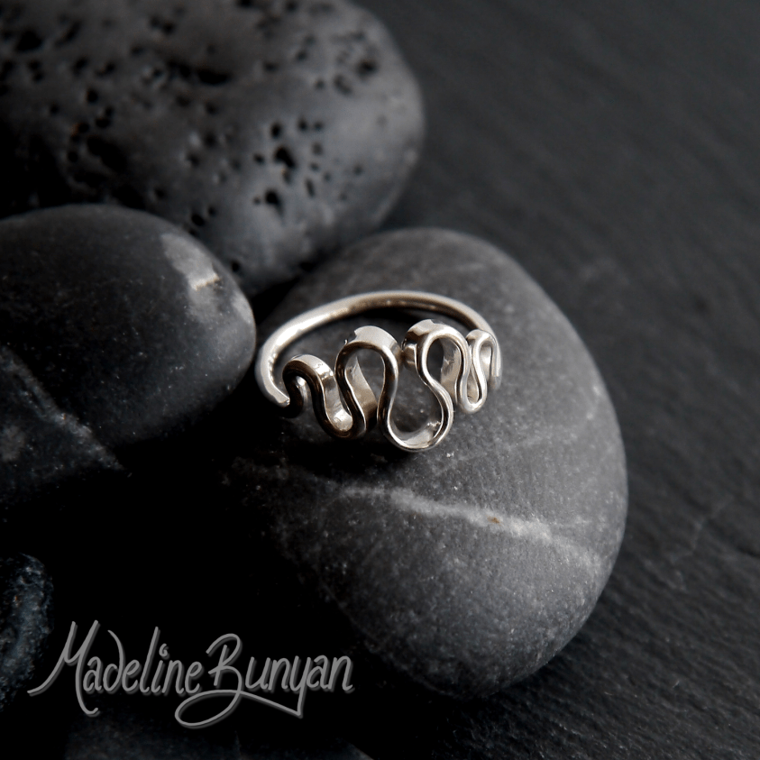 Wave Ring, Smooth, Asymmetric, Sterling Silver