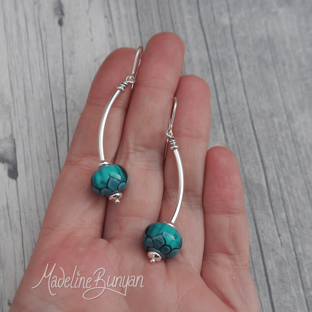 Teal and Turquoise Lotus lampwork glass and curved silver drop earrings Sterling Silver