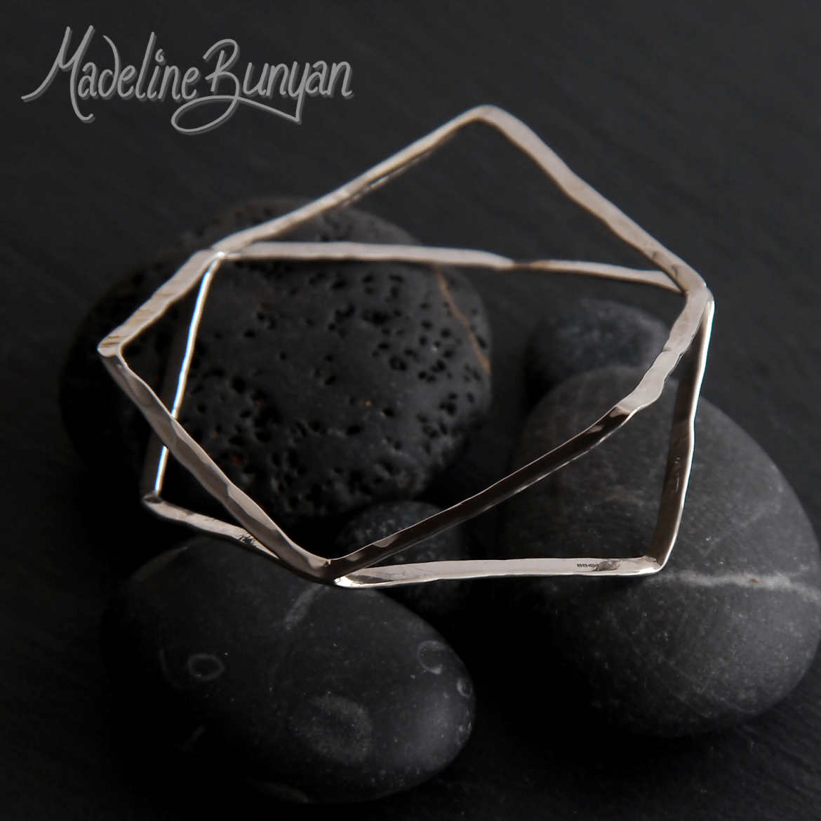 Double Hexagon Bangle , Sterling Silver, Small Size
