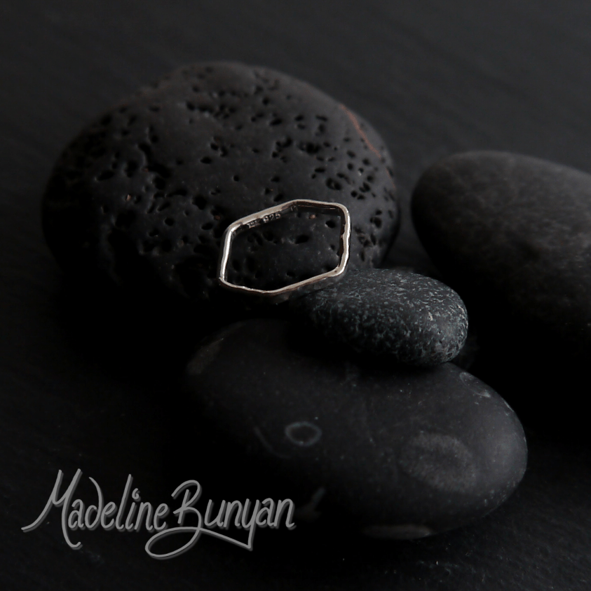 Folded Hexagon Ring , Sterling Silver Size L