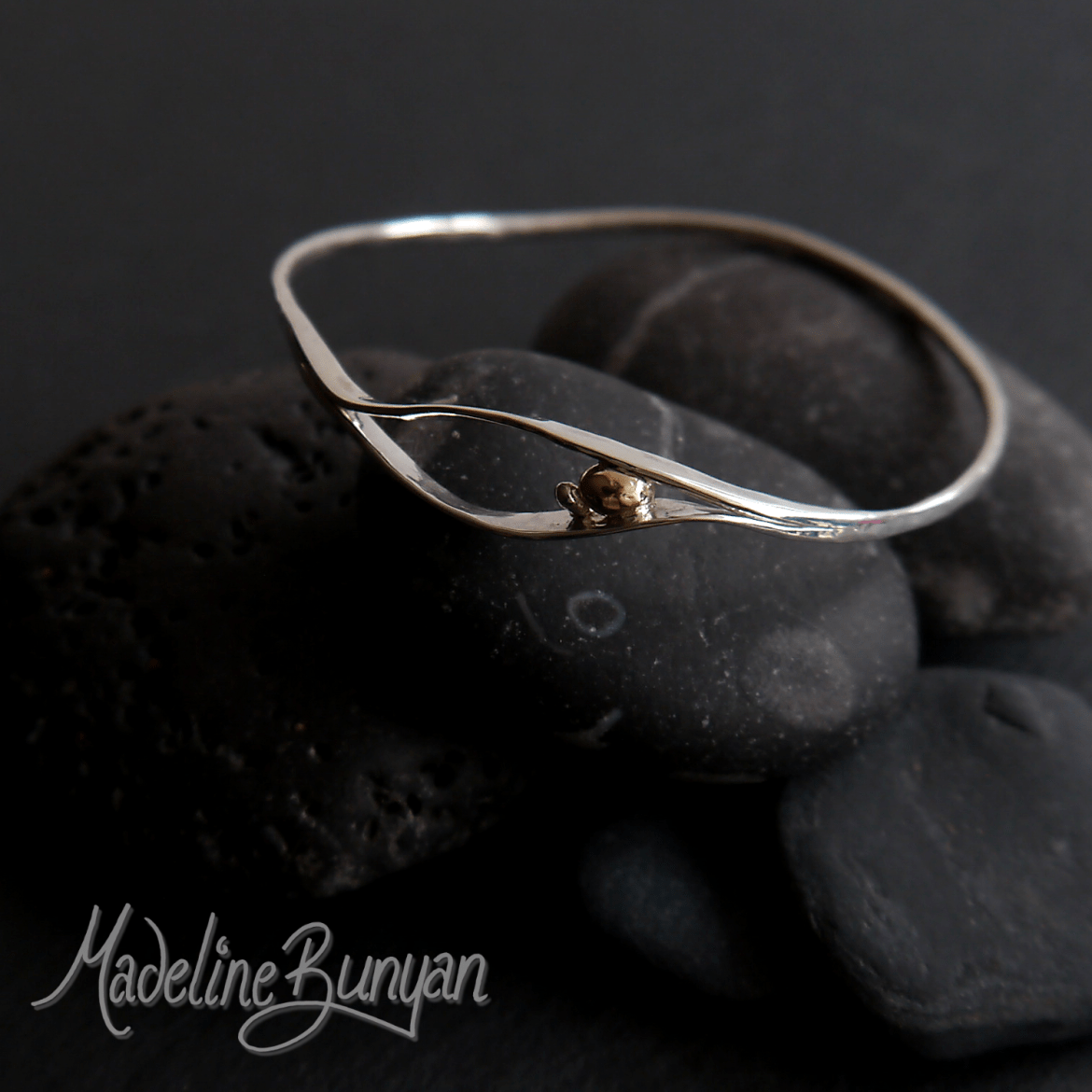 Pebble Bangle, Sterling Silver, with 9 carat Gold