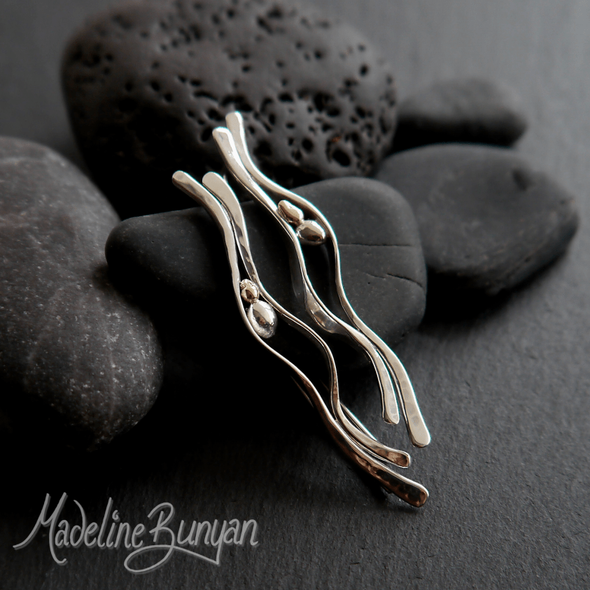 Pebble Hook-in Earrings, Sterling Silver, with 9 carat Gold