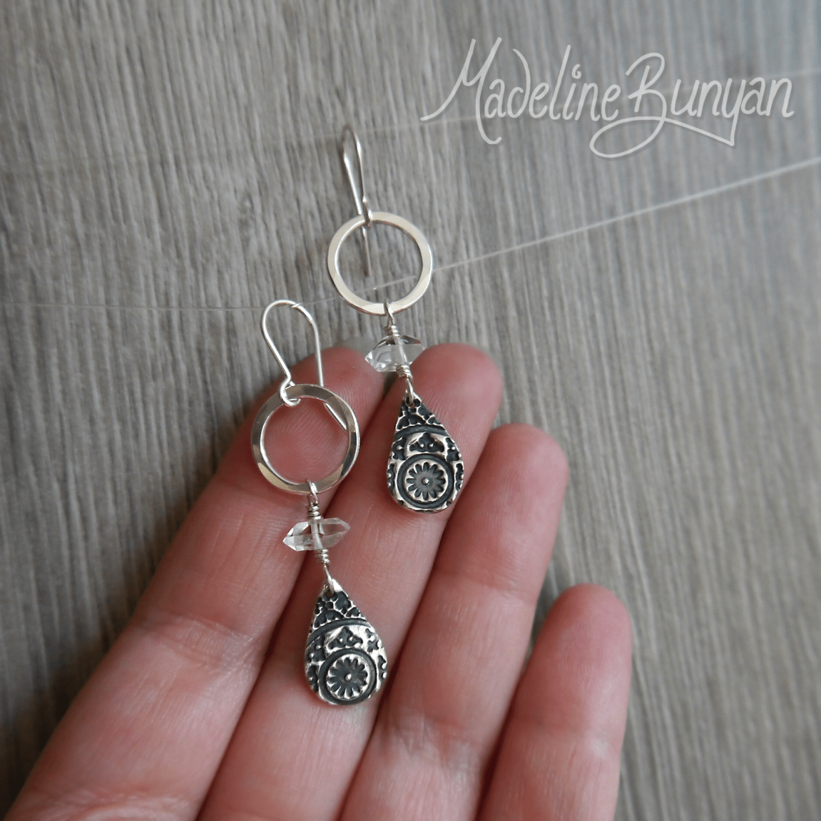 Silver and Herkimer Diamond drop earrings Sterling Silver